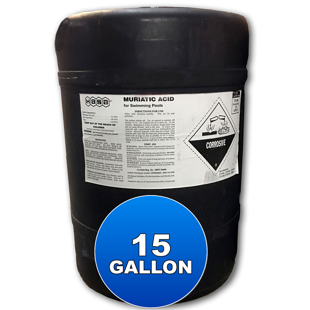 15 Gallon Liquid Chlorine 12.5%, Hasa - Bulk Chemicals