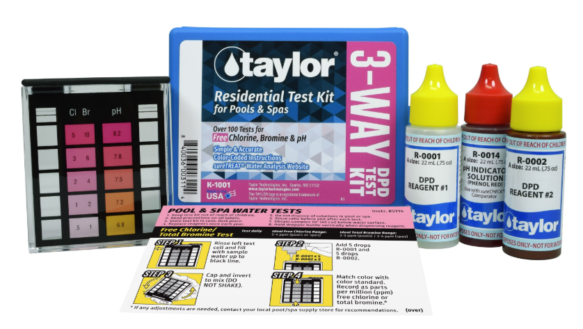 3-Way Test Kit for Free Chlorine, Bromine, pH (DPD) - K-1001-1 - Test Kits