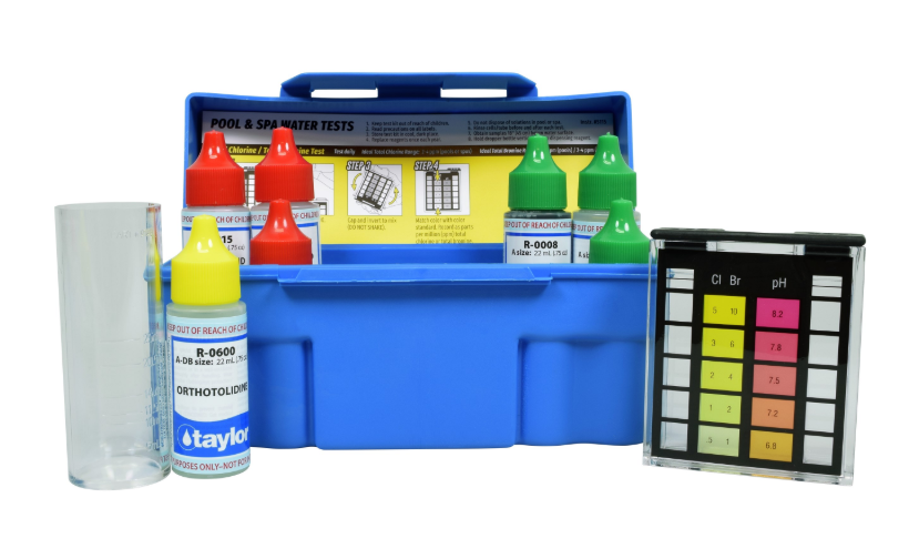 6-Way Test Kit for Total Chlorine, Bromine, pH (acid & base demand), Alkalinity (OTO) - K-1003-1 - Test Kits