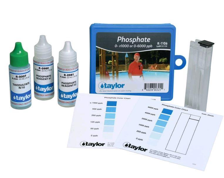 Phosphate Test Kit - Color Card Comparator, Phosphate, Stannous Chloride, 0- ≥1000 or 0-6000 ppb - K-1106 - Test Kits