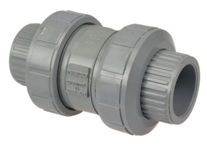 1-1/2 Ball Check, True Union, Corzan® CPVC Schedule 80, Universal Ends, FKM, U51BC-V - Check Valve