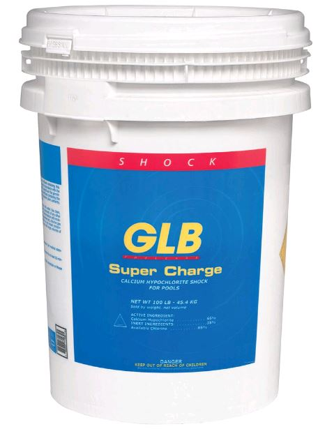 GLB Super Charge Chlorine Shock 68%. 100lb Pail - Bulk Chemicals