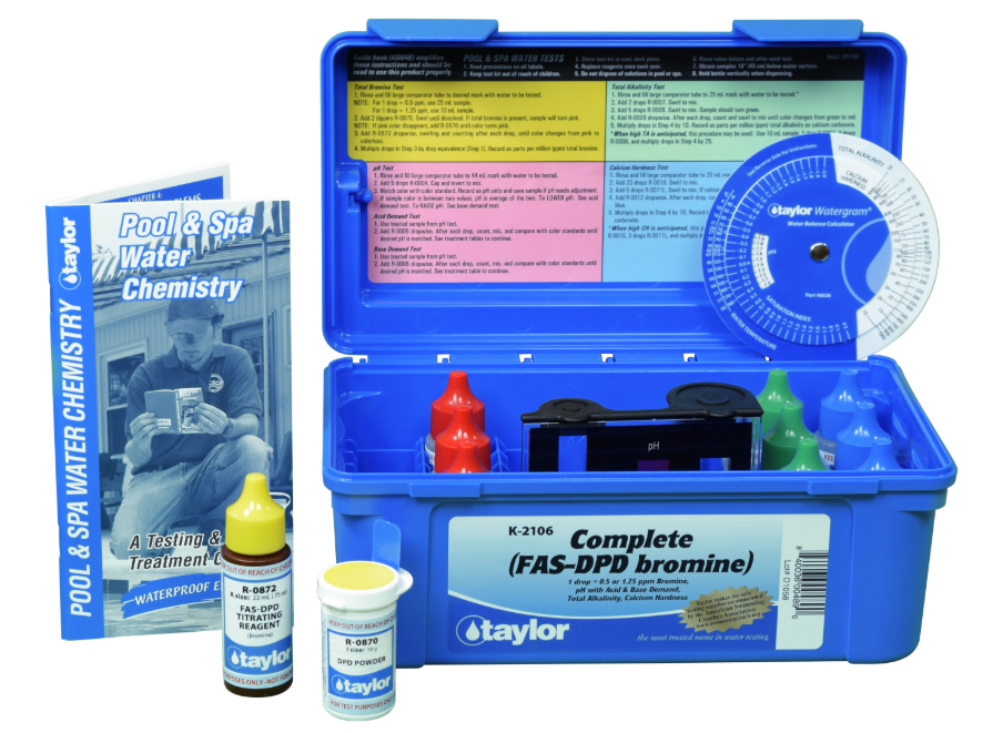 K-2106  Complete™ kit for Bromine, pH, Alkalinity, Hardness (FAS-DPD–high range) (.75 oz bottles)